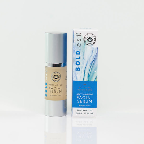 The .est 2020 BOLD.est Anti-Aging Face Serum is a deep penetrating, rejuvenating serum packed with anti-inflammatory and antioxidant ingredients. It is formulated with clean, all-natural ingredients including collagen peptides, hyaluronic acid, and highly concentrated Full Spectrum Nano CBD.